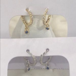 TeenyTiny CZ Hoops w/ Sapphire Crystal Dangle,NWT